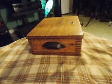 Antique Dovetailed Wood TIGER OAK Telephone Ringer EMPTY BOX W/ Handles VG !