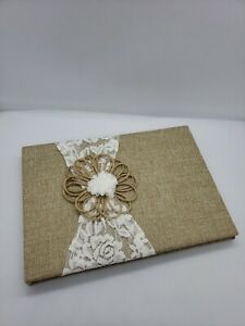 DAVID TUTERA™ BURLAP RUSTIC GUEST BOOK WITH LACE AND JUTE FLOWER