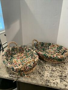 Multi-Purpose Oval Wicker Decorative Baskets with Floral Cloth Liners, Set of 2