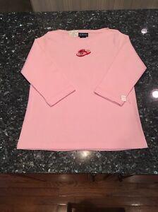 NWT LasOlas Women's 100% Cotton, 3/4 Sleeve, Summer Flip Flop Shirt, Sz S, Pink