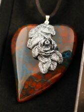 Silver Forest Shimmering Rose Heart Polymer Clay Brown Blue Dragon Veins Agate