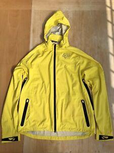 Fox Racing Downpour Waterproof MTB Yellow Large Detachable Hood Jacket RRP£160