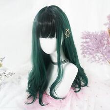 New Japanese Black Green Long Curly Hair Harajuku Lolita Sweet Woman's Daily Wig
