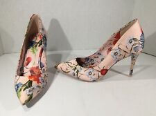 ALDO Womens Pink Floral Pointed Toe Classic Heels Pumps Shoes Size 8 DS-67