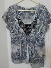 Ladies 1X Plus One World Live Let Live Black White Bling Top Tunic