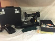 1947 SINGER 221 FEATHERWEIGHT SEWING MACHINE W/CASE + MORE 3-110 Motor Very Good