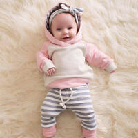 Nuovo Primi Passi Neonati per Bambine Invernale Completi Vestiti Cappuccio Top +