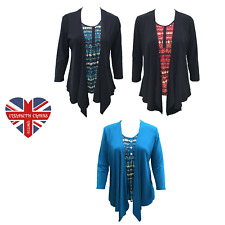 LADIES TWINSET TOP & WATERFALL CARDIGAN ELEGANT DESIGN SOFT MATERIAL SIZES 10-22