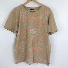 BURBERRY London Mens Graphic Tee Tan Orange Cotton T Shirt Size Large L