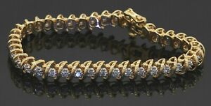 Heavy 14K yellow gold elegant high fashion 2.0CT diamond tennis line bracelet