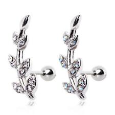 Surgical Steel Ear Cartilage Ring Stem Leaves Clear or Aurora CZ 18G