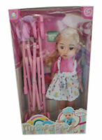 Doll Stroller Sweet Baby Pram Buggy With Doll Play Set For Girls Kids