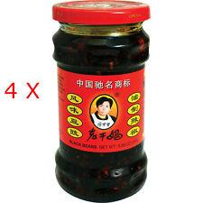 4 Bottle Lao Gan Ma Hot Black Bean Chili Oil Sauce 老干媽風味豆豉  ( 9.88 oz each )
