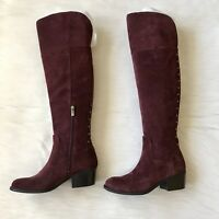 Vince Camuto Bashan Women's Over-the-Knee Boots Studs Plum Suede Size 6.5 W New