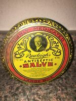 Rawleigh's Antiseptic Salve Vintage Empty Tin 12 Oz Freeport IL Highly Medicated