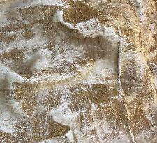"Hand Painted Silk Velvet Fabric - Metallic Gold on White Fat 1/4 18""x22"""