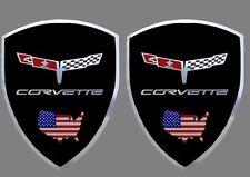 2 adhésifs stickers CORVETTE C3 1980  noir support chrome (idéal ailes avant)