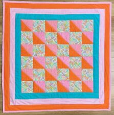 "Baby Quilt Handmade Girl's Pink Orange Paisley Patchwork Crib Blanket 40""x40"""