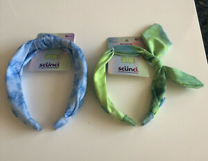 2 Scunci headbands mulicolor w/ buttons to hold mask NEW Tie Dye Blue/Green