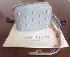 TED BAKER Grey Leather Crossbody Handbag with Pearl Decor and Rose Gold Chain