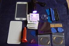 Samsung Galaxy S5 Mini Blanco Cristal Frontal, Kit de Reparación de Pantalla, Loca Glue, UV Antorcha