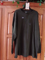 MENS ST JOHNS BAY  GREEN SUEDED HENLEY LONG SLEEVE  SHIRT SMALL