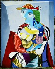 "PICASSO HAND PAINTED OIL PAINTING ON CANVAS ""MARIE-THERESE"" 40 X 32"