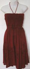 New_Boho_Stonewashed_Halter or Tube Dress_Knee Length_Sangria_S-M-L_Free Size