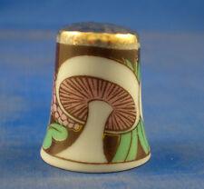 Gold Top Porcelain Thimble - Art Deco Mushroom - Free Gift Box