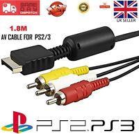 Composite RCA AV Cable TV Video Lead for PS1 PS2 PS3 Playstation Consoles 1.8M