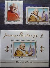 Polen 1983 Mi 2868-2869 + Bl.91 - Besuch von Papst Johannes Paul II in Polen
