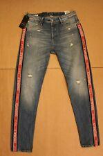 Jack & Jones Men's Originals Slim Fit Logo Stripe Ripped Jeans AB3 Blue Size 32