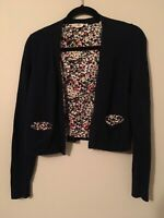 HWR Anthropologie Blue Open Cardigan Sweater W/Floral Detail, Size Small