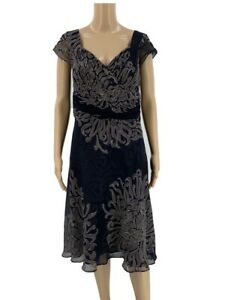 Ann Taylor Dress Womens Size 10 Silk A-line Crossover Empire Blue Spiral Printed