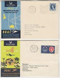 BOAC 1957 BRITANNIA FFC *LONDON-SYDNEY* & 1961 COMET-4 FFC *LONDON-PHILIPPINES*