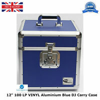 "1 X NEO BLUE Aluminium DJ Storage Carry Case for 100 LP Vinyl 12"" Records TOUGH"