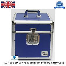 """1 X Aluminio Neo Blue DJ Almacenamiento Funda De Transporte Para 100 Lp Vinilo 12"""" registros Resistente"""
