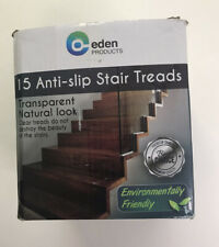 """Eden Products 24"""" x 4"""" Pre-Cut Transparent Anti-Slip Stair Treads 15 Pack Clear"""