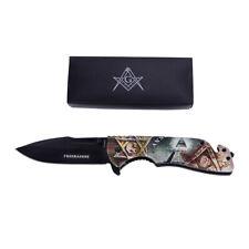 Masonic Eye Freemason G Spring Assist Open Blade Folding Pocket Knife Mason Gift