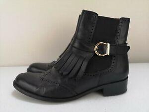CASTALUNA Ladies Women High Heel Shoe Black Brogue Leather Ankle Boot Size 6 39