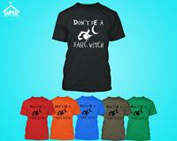 WHITE Logo Don't Be Basic Witch Mens TSHIRT Halloween T-shirt Halloween Boo