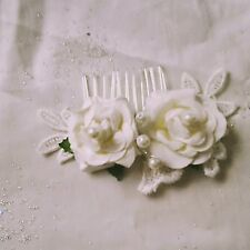 Bridal Hair Comb ,Vintage Ivory Roses ,Lace and Pearls