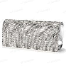 Reelva Plata Cristal Diamante Pedrería Fiesta De Noche Bolsa De Embrague Nuevo