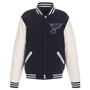 NHL St. Louis Blues Reversible Fleece Jacket PVC Sleeves 2 Front Logos JHD
