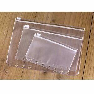 A5/A6/A7 Size Plastic Zip Lock Envelope Zipper Wallet Insert Refill Organiser #5