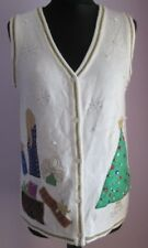 VTG Ladies Unbranded CANDLES/TREES White Novelty Xmas Waistcoat Size Medium (N4)