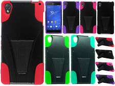 T-Mobile Sony Xperia Z3 Advanced Layer HYBRID KICKSTAND Rubber Protector Cover