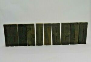 """LOT OF 9 4"""" WOOD LETTER BLOCKS 0 O 9 8 7 6 5 B M PRINTING PRESS NUMBERS STAMPS"""