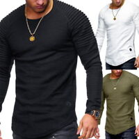 Mens Fashion Long Sleeve T-Shirt Fitness Stripe Pleated Slim Fit T-Shirts NG