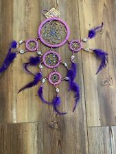 Dream Catcher Bead Feathers Shells Purple Pink Native American